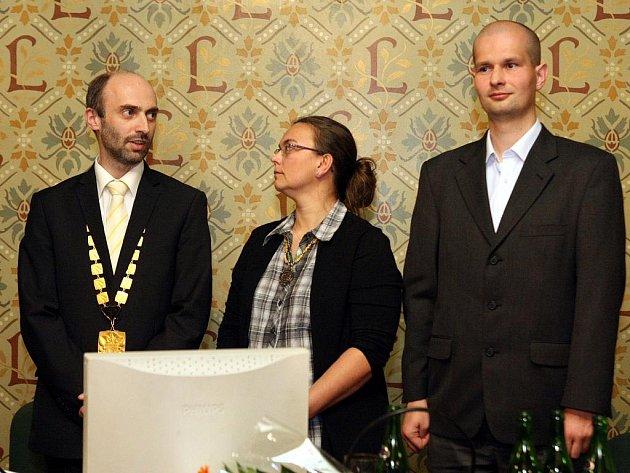 Jan Korytář, ekonomický náměstek Jaromír Baxa a radní Květoslava Morávková.
