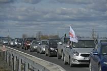 Protest polských řidičů u Hrádku nad Nisou, který se uskutečnil 22. března 2021.