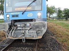 Nehoda vlaku s osobním autem.