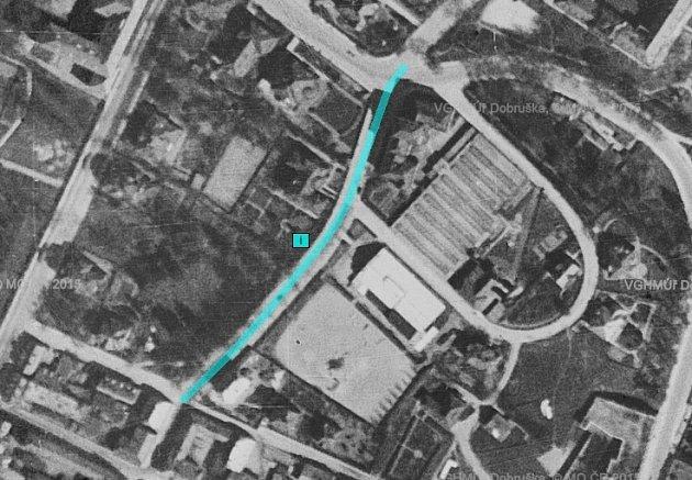 Tyršova ulice, 1938, letecký snímek