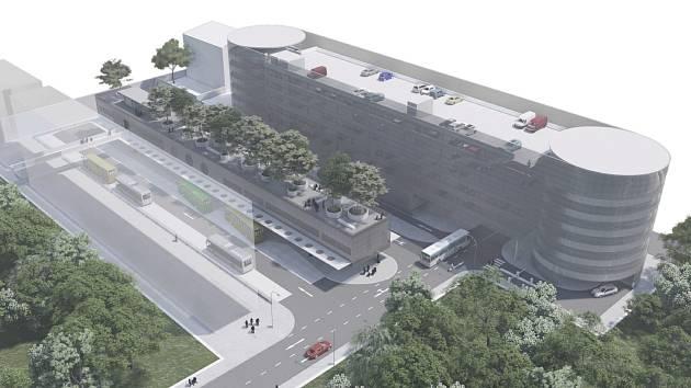 Vizualizace nového terminálu a parkovacího domu na místě současného autobusového nádraží v Liberci od autora Petra Stolína.