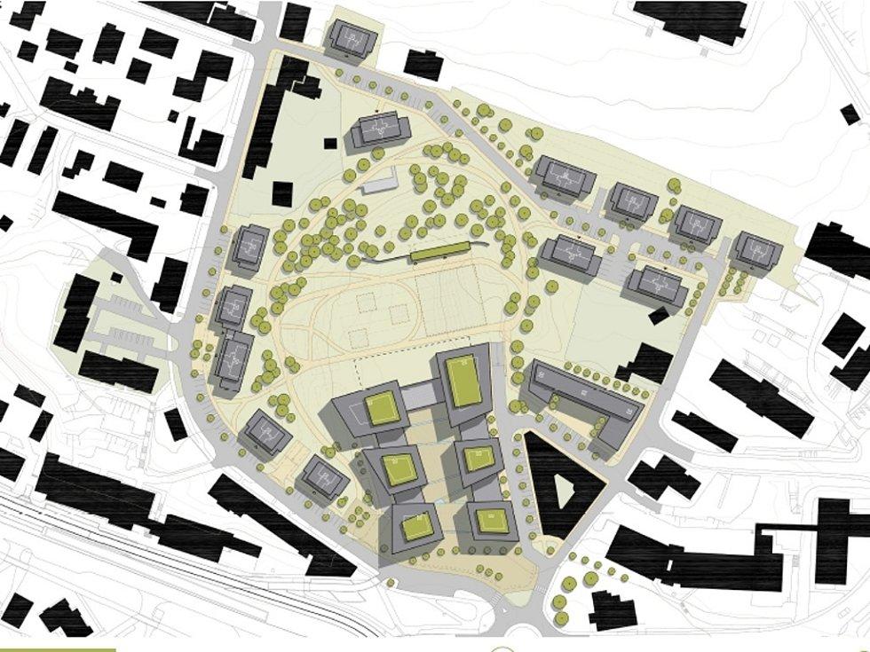 """PRVOTNÍ studie na přeměnu """"díry"""" na Perštýně.  Šest administrativních budov, drobné obchody, bydlení a zeleň."""