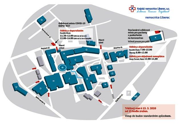 Mapa nového odběrového místa vLiberci.