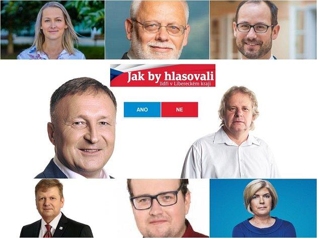 Jaroslava Pauchová, Josef Jadrný, Jan Farský, Petr Beitl, Otto Jarolímek, Radovan Vích, Jan Koros, Jana Pastuchová (zleva shora)
