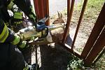 Záchrana srnky z plotu areálu pivovaru Svijan.