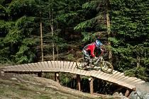 Lanovkou nahoru i s kolem nebo kočárkem, dolů po svých nebo na kole po trasách právě otevřeného bikeparku.