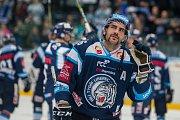 Utkání 23. kola Tipsport extraligy ledního hokeje se odehrálo 19. listopadu v liberecké Home Credit areně. Utkaly se celky Bílí Tygři Liberec a HC Kometa Brno. Na snímku je Petr Jelínek.