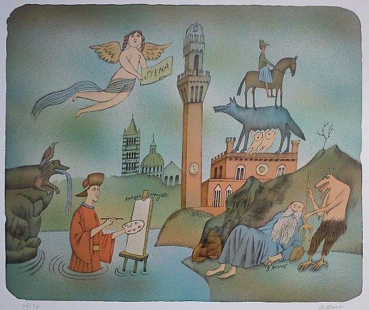 ADOLF BORN se kromě ilustrací zabývá také animacemi, karikaturami a divadelními kostýmy. Jeho doménou je grafika suchá jehla, lept a především litografie.