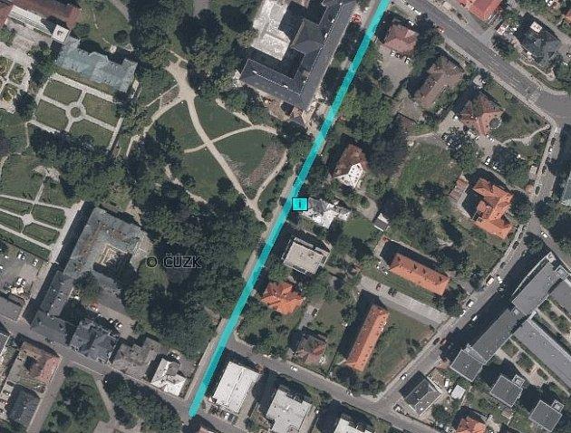 Komenského ulice, 2015, letecký snímek