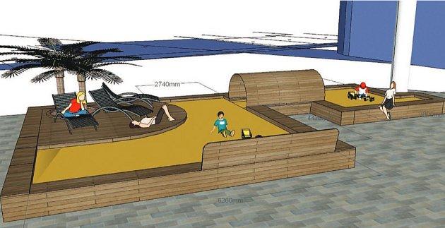 VÍTĚZNÝ NÁVRH pochází od Marcely Hofmannové, studentky Střední školy tvorby a designu nábytku vLiberci-Kateřinkách. Tvoří ho dřevěné bednění smožností sezení spískem uprostřed, které bude mít deset metrů na délku a pět na šířku.