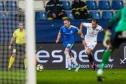 Zápas 8. kola první fotbalové ligy mezi týmy FC Slovan Liberec a 1. FC Slovácko se odehrál 25. září na stadionu U Nisy v Liberci. Na snímku zprava Josef Divíšek a Vladimír Coufal.