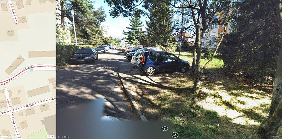 Nynější stav parkování v ulici Břetislavova
