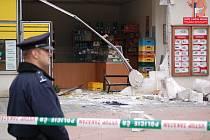 Takhle vypadalo místo krádeže v bankomatu v Přerově, kde byl vytržen z chráněného místa.