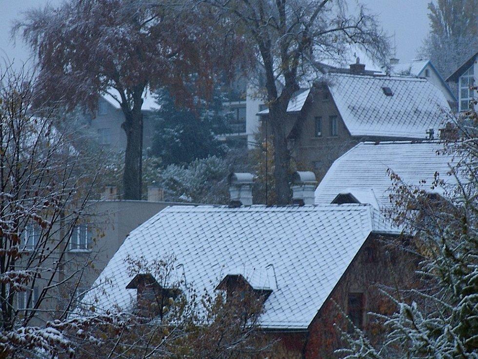 Foto prvního sněhu. Foceno v sobotu 27.října ráno