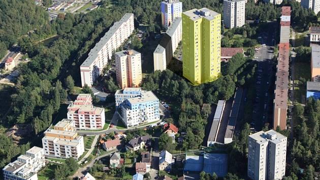 Visualizace plánované nejvyšší budovy v Liberci. Ovšem místo zeleně, která na obrázku k věžáku přiléhá, by měla být vybudována parkovací místa.