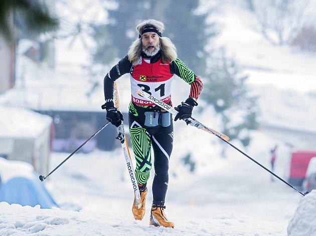 Závod na běžkách Boboloppet se uskutečnil 4. února 2017 v Jizerských horách již po sedmé. Start i cíl 90 kilometrů dlouhé trati byl na stadionu v Bedřichově. Na snímku Milan Jelínek.