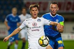 Zápas 8. kola první fotbalové ligy mezi týmy FC Slovan Liberec a 1. FC Slovácko se odehrál 25. září na stadionu U Nisy v Liberci. Na snímku vpravo Vladimír Coufal.