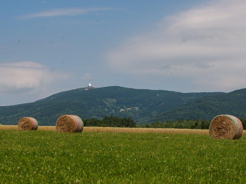 Balíky slámy na poli ve Starém Dubu u Českého Dubu na snímku v pozadí s Ještědem z 9. července.