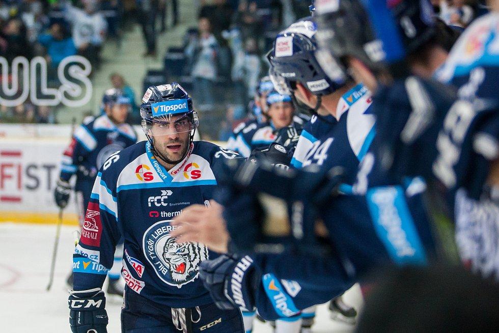 Utkání 39. kola Tipsport extraligy ledního hokeje se odehrálo 12. ledna v liberecké Home Credit areně. Utkaly se celky Bílí Tygři Liberec a HC Vítkovice Ridera. Na snímku je Petr Jelínek.