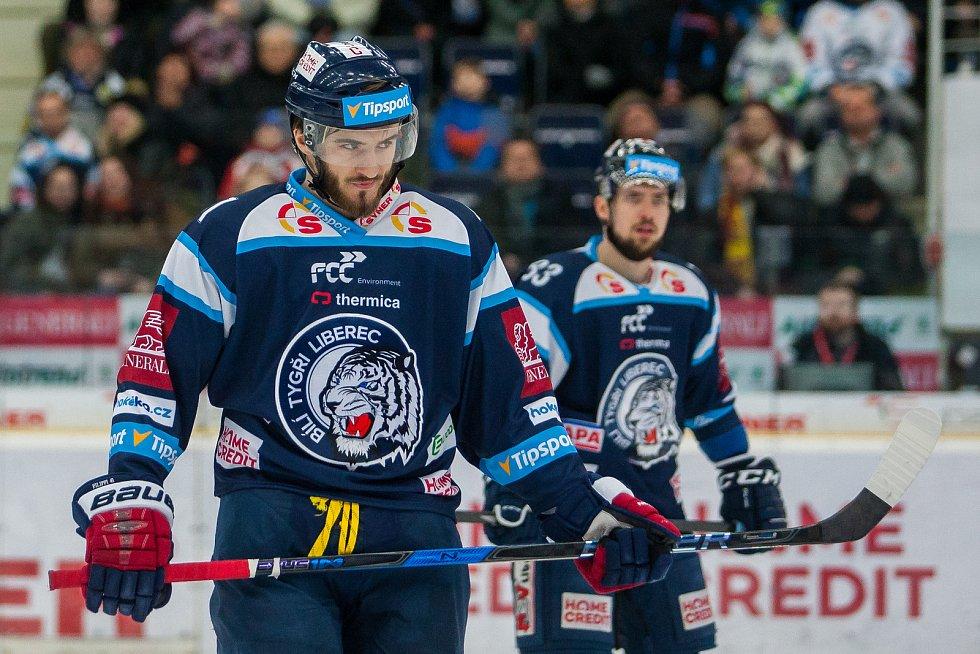 Dohrávka zápasu 11. kola Tipsport extraligy ledního hokeje se odehrála 26. února v liberecké Home Credit areně. Utkaly se celky Bílí Tygři Liberec a HC Dukla Jihlava. Na snímku je Tomáš Filippi.
