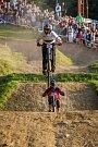 Finále závodu světové série horských kol ve fourcrossu JBC 4X Revelations proběhlo 14. července v bike parku Dobrý Voda v Jablonci nad Nisou. Na snímku je biker Quentin Derbier.