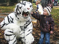 Nejmenší děti byly v zoologické zahradě v sobotu nejvíc fascinovány živými obrovskými plyšáky.