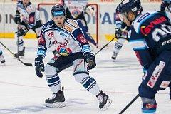 Utkání 39. kola Tipsport extraligy ledního hokeje se odehrálo 12. ledna v liberecké Home Credit areně. Utkaly se celky Bílí Tygři Liberec a HC Vítkovice Ridera. Na snímku je David Květoň.