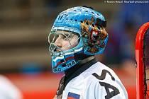 Florbalový brankář Ivan Ponomarev v dresu ruské reprezantace.