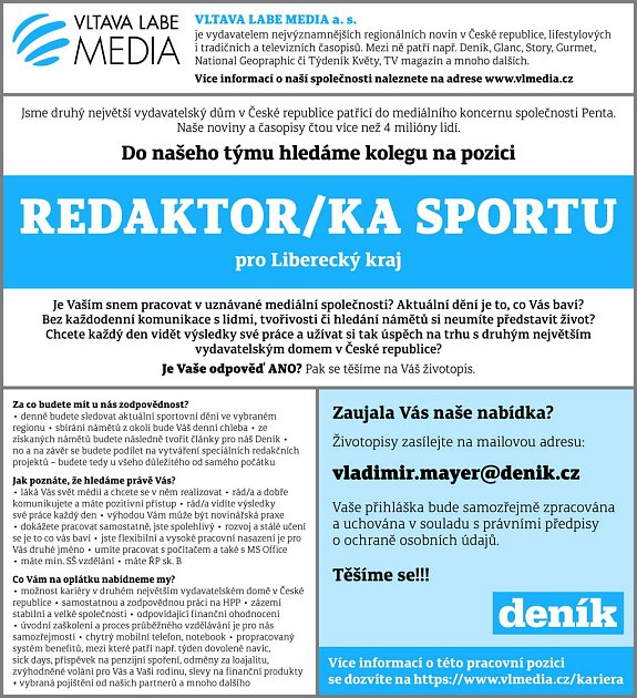 Hledá se sportovní redaktor pro Liberecký kraj.