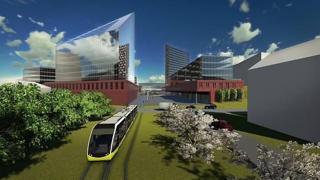 Studie dopravního uzlu města Liberce tak, jak by mohl vypadat za desítky let.