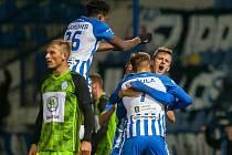 Zápas 14. kola první fotbalové ligy mezi týmy FC Slovan Liberec a FK Mladá Boleslav se odehrál 5. listopadu na stadionu U Nisy v Liberci. Na snímku je radost hráčů Liberce.
