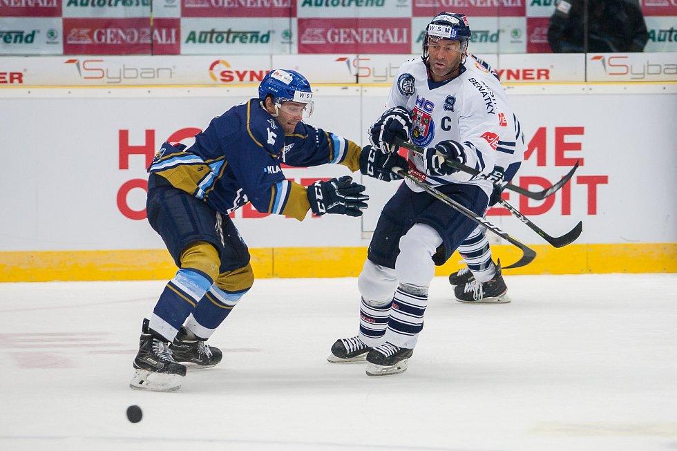 Utkání 46. kola WSM ligy ledního hokeje se odehrálo 3. února v liberecké Home Credit areně. Utkaly se celky HC Benátky nad Jizerou a Rytíři Kladno. Na snímku vpravo Petr Nedvěd.