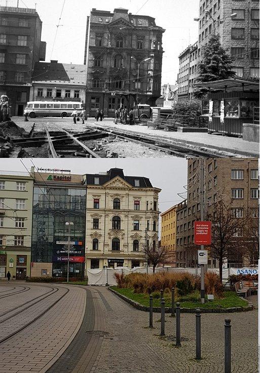 Srovnávací fotografie: Soukenné náměstí v 80. letech 20. století a v roce 2020.