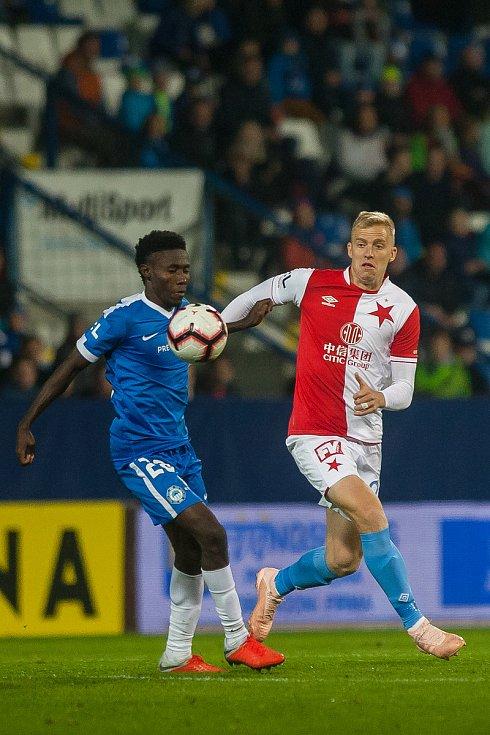 Zápas 12. kola první fotbalové ligy mezi týmy FC Slovan Liberec a SK Slavia Praha se odehrál 21. října na stadionu U Nisy v Liberci. Na snímku vlevo je Murphy Dorley.
