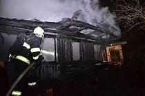 Požár chaty v Liberci.