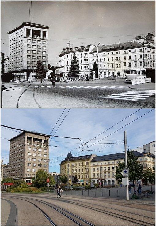 Srovnávací fotografie: Soukenné náměstí kolem roku 1970 a v roce 2020.