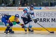 Utkání 18. kola Tipsport extraligy ledního hokeje se odehrálo 14. listopadu v liberecké Home Credit areně. Utkaly se celky Bílí Tygři Liberec a PSG Berani Zlín. Na snímku vpravo Lukáš Krenželok.