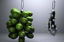 KULIČKY HROZNOVÉHO VÍNA připomíná 24 ampulí, které tvoří sadu na víno. Každá může obsahovat dvě deci opojného moku.