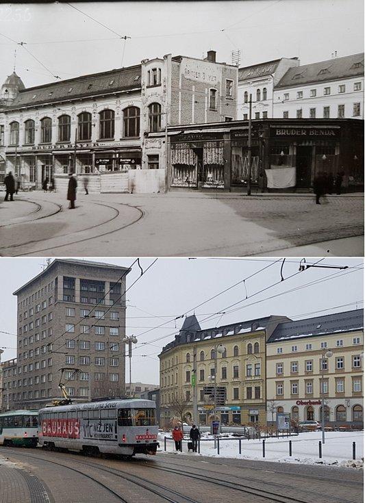 Srovnávací fotografie: Soukenné náměstí v roce 1928 a v roce 2021.