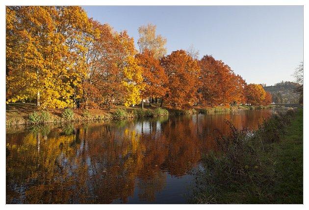 Krásně zabarvená alej podél řeky Jizery vměstském parku.