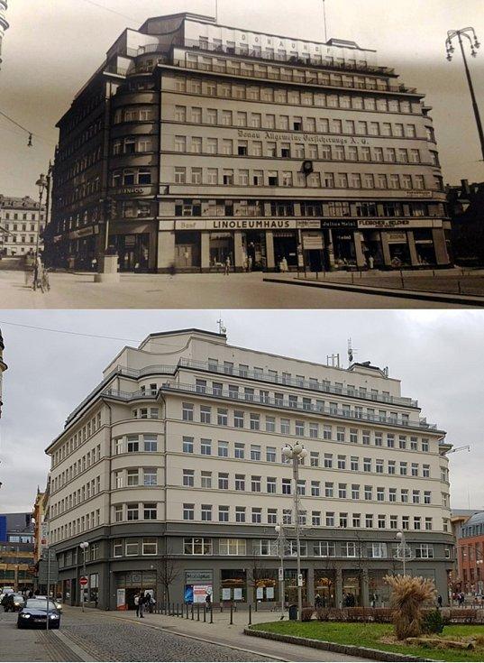 Srovnávací fotografie: Soukenné náměstí kolem roku 1932 a v roce 2020.