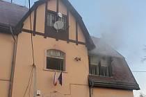 Požár v budově Obecního úřadu Zdislava