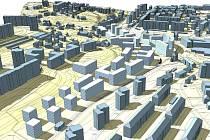 Na vizualizaci můžete vidět, jakou podobu by mohlo jíž za několik let mít bytové městečko na území bývalé Textilany. Nová zástavba je ve světlejších barvách.