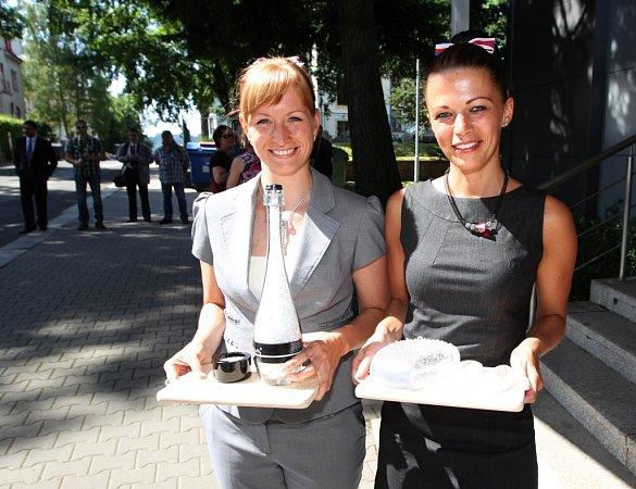 Na prezidenta Miloše Zemana čekali zaměstnanci Preciosy ivedení společnosti.