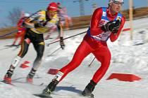 V lyžařském areálu ve Vesci se uskutečnila běžecká část závodu v severská kombinaci. Na snímku Nor Jan Schmid.