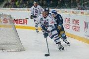 Utkání 46. kola WSM ligy ledního hokeje se odehrálo 3. února v liberecké Home Credit areně. Utkaly se celky HC Benátky nad Jizerou a Rytíři Kladno. Na snímku v bílém je Radek Veselý.
