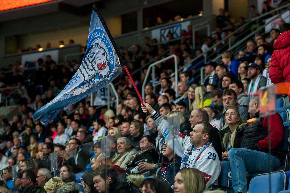 Utkání 47. kola Tipsport extraligy ledního hokeje se odehrálo 4. února v liberecké Home Credit areně. Utkaly se celky Bílí Tygři Liberec a HC Sparta Praha. Na snímku je fanoušek Liberce.