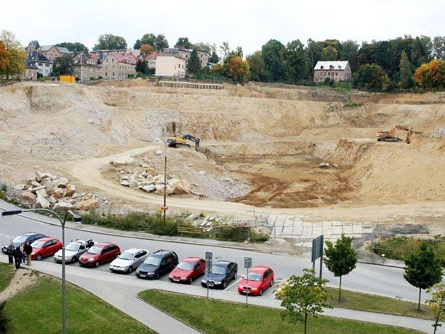 Výstavba obchodního centra Galerie Liberec.