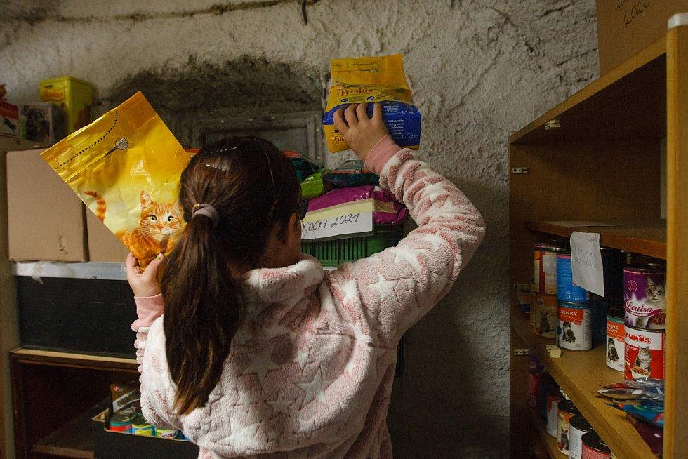 Pracovníci útulku v Krásném Lese si převzali darované žrádlo pro psy a kočky.