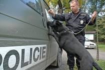 Psovod cizinecké policie ze skupiny služební kynologie v Černousech se služební šestiletou fenou Heidy.